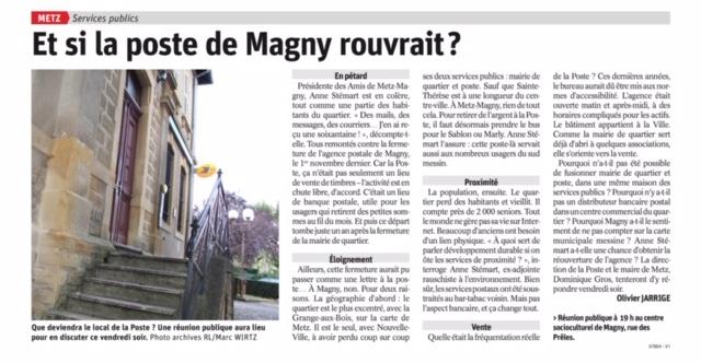 Et si la poste de Magny rouvrait ?